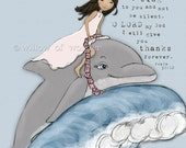 Dolphin Girl  scripture art print - children's wall art - girl nursery art