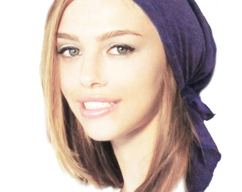 Tichel, Hair Snood, Head Scarf, Snood, Chemo Head Scarf, Chemo Hat, Pre Tied Bandana, ON SALE: Purple Knit... many more styles in shop -085