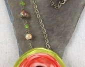 Dramatic Lime & Salmon Satin Fabric Flower Necklace with Oxidized Copper, Czech Glass and Vintage Beads