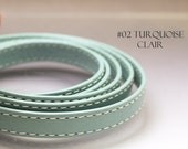 1 ft Flat Leather cord turquoise 10mm x 2mm double stitched goat skin 10 mm leather strap leather ribbon