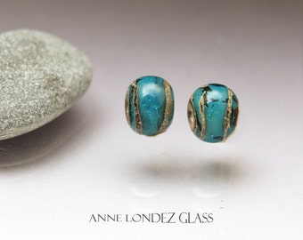 Pair of small beads Round beads Aqua glass beads Made to Order Blue lampwork bead Blue Beads for earrings Bead pair for earrings Anne Londez