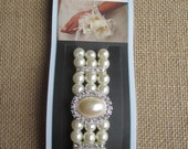 David Tutera Corsage Wristlet - Stretch off white pearl with rhinestones - Beautiful Bracelet