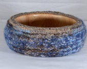 Fiber Art Bowl cover - hand felted and hand formed wool art - crocheted and knit with mixed color yarns and sparkle rim