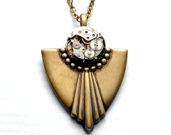 Steampunk Necklace ART DECO Steam Punk Necklace Vintage Watch Necklace Antique Brass Victorian Steampunk Jewelry by Victorian Curiosities