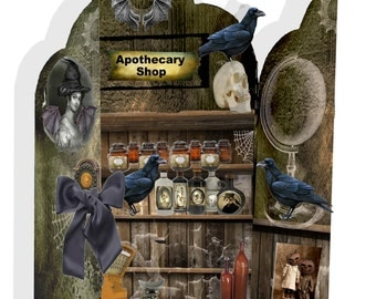 Halloween printable Gothic Apothecary shop card instant download DIY