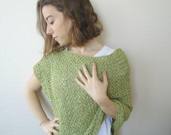 GREEN Hand Knit PONCHO