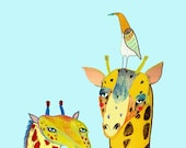 Two Giraffes and Bird. Limited edition art print of (100). Make Your Wall Cool! Kids art - childrens decor - illustration print - poster.