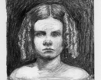 art drawing - Little Murderess (with Ringlets) - bad girl, murder, death, victorian gothic, pencil drawing, original pencil drawing