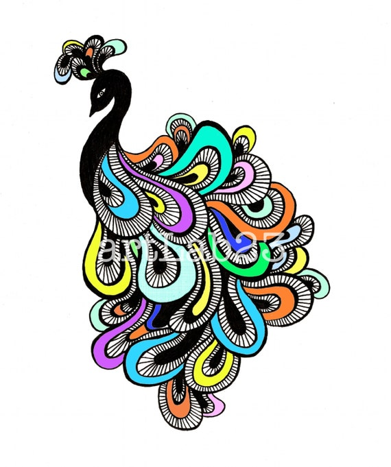 Items Similar To Peacock Doodle Art Print 8x10 Feather