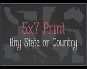 Customized 5 x 7 State or Country Art Print, State Map, Country Map, Heart, Silhouette, Aged-Look Print