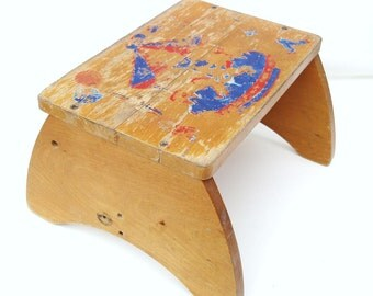 Vintage Childs Step Stool Wooden Bench Rustic Kids Chair Bathroom Stool Step Ladder Red Blue