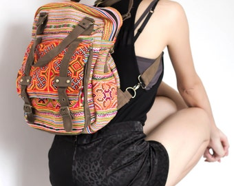 Ethnic Hobo Boho Embroidered Thai Hmong Shoulder School Backpack
