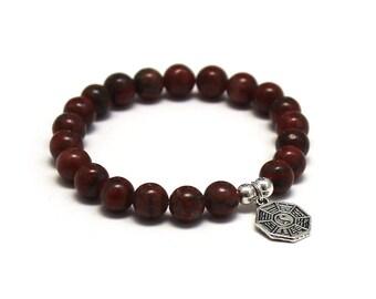 Chakra Bracelet Jasper Mala Beads Yin Yan, Women Mens Inspirational Jewelry Holistic Addiction Rehab Recovery Birthday Yoga Gift for Partner