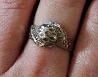 SALE Vintage Estate Etched Swirl Dome Face Sterling Silver Ring