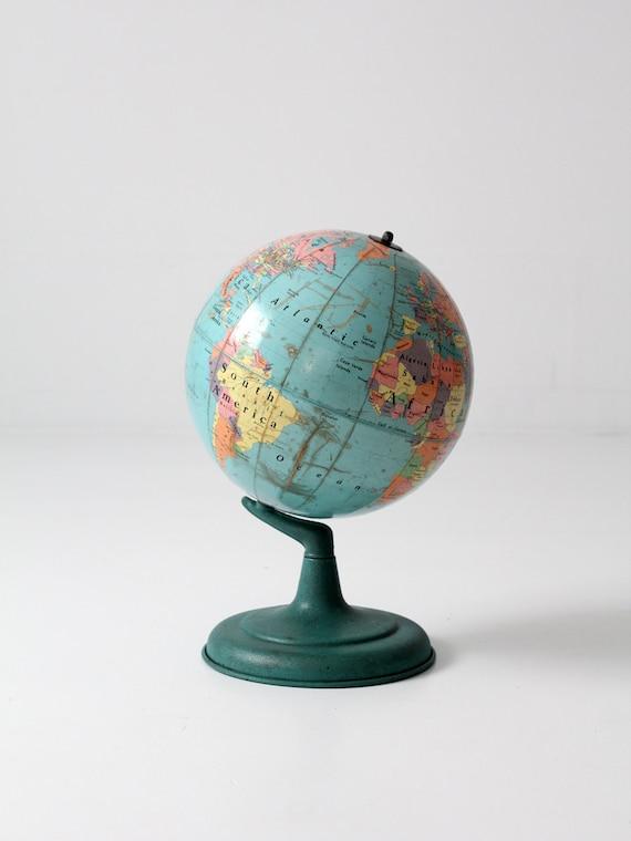 mid century world globe, 1960s 12 inch Nystrom globe
