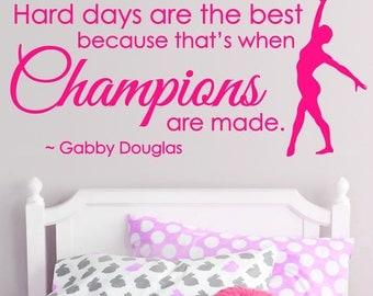 Champions SPORT Gymnastics GIRLS Custom Vinyl Wall Decals Art Stickers Quote Saying Nursery Kids Girls