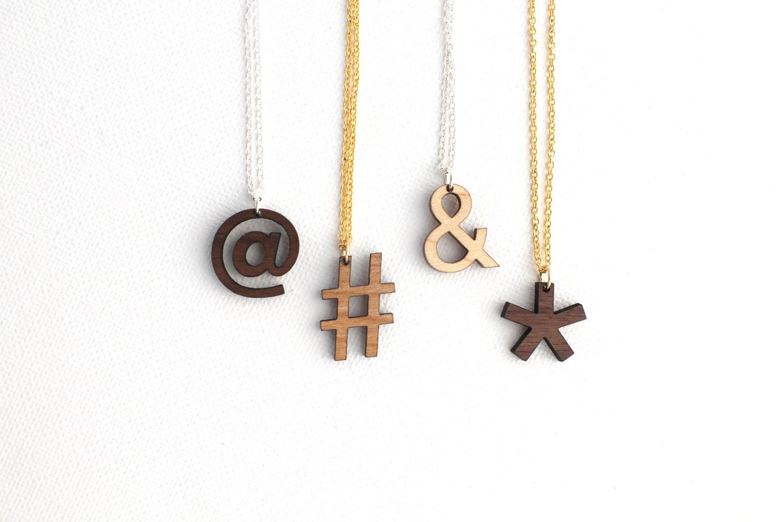 custom symbol necklace laser cut wooden modern by havokdesigns