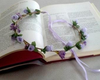 Lavender flower crown Easter Hair wreath baby headband photo prop bridal headpiece spring Flower girl halo wedding Accessories