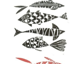 Fishes - Original Linocut Print - Fish Lino Print - Hand Pulled - Black and Red Fishes - Printmaking Art - The Bluebirdgallery