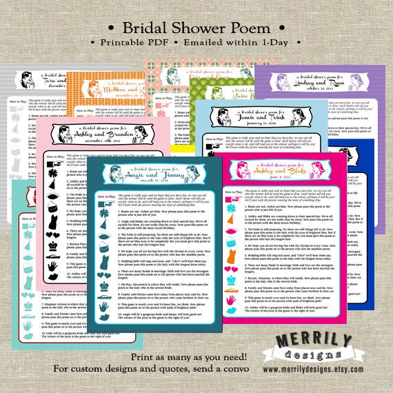 Bridal Shower Game Printable Retro Personalized Poem