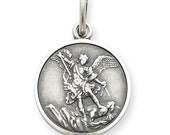 """Saint Michael Sterling Silver Religious Medal Pendant on 18"""" sterling rolo chain"""