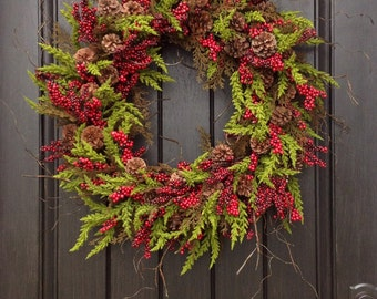 Christmas Wreath-Winter Wreath-Holiday Door Decor-Cabin-Rustic-Holiday Season