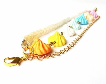 Braided Bracelet Marshmallow ( gold jewelry colorful marshmallow sweet cute gift for girl polymer clay handmade embroidery floss )
