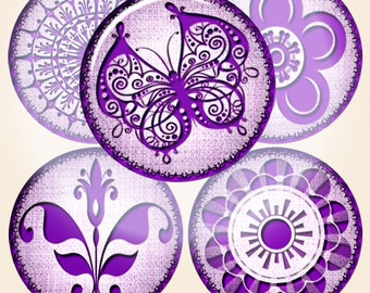 Digital Collage of violet flowers, patterns, butterflies- 70 1x1 Inch Circle JPG images