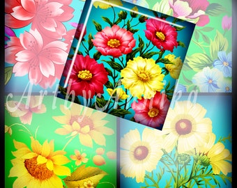Gorgeous flowers - 63 1x1 Inch Square JPG images - Digital Collage Sheet