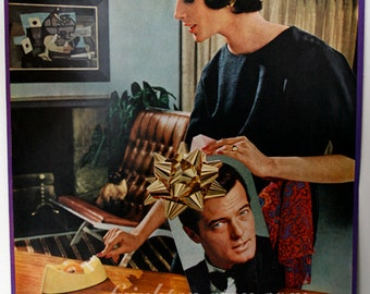 One of a Kind Retro Vintage Paper Collage Art, New Man for Christmas