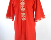 1960s Red Robe Lounge Wear Evelyn Pearson Housecoat Womens Size Medium