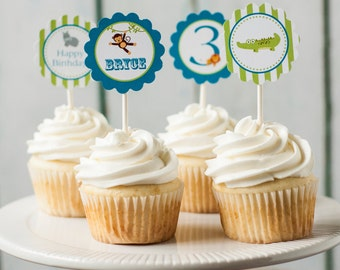 Printable Zoo cupcake toppers