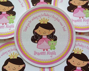 Set of 12 Personalized Favor Tags -Pretty in Pink Princess -Thank You Tag -Gift Tag -Baby Shower -Birthday-Sticker -Princess -Frog