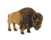 Felted buffalo, Flocked buffalo, Felted animal, Flocked bison, Vintage buffalo