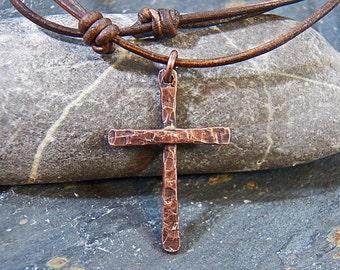 Hammered & Beaten Textured Cross - Oxidized Copper - Necklace - Choker