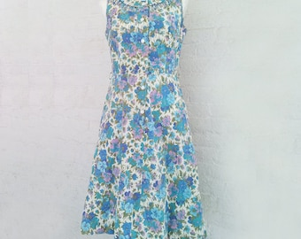1950s Blue Watercolor Floral Day Dress 50s Vintage Brentwood Cotton Sundress Full Circle Skirt Medium Summer Fit Flare Garden Party Dress
