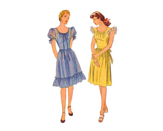 1940s Vintage Sewing pattern Dress with Puff sleeves or ruffle Darling Girl Next Door Style size 14 Bust 32 Simplicity 1270 ruffle  sleeves