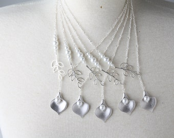 Set of five bridesmaid necklaces, silver calla and white pearl necklace, white wedding jewelry, pearl necklace, bridesmaid gift