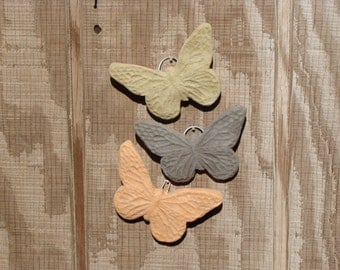 BUTTERFLY PLAQUE (Set/3) - Select Your Colors. Solid Stone Indoor/Outdoor Garden Wall Decor Accent. Sealed Cement Concrete w/ Hook (#6007)