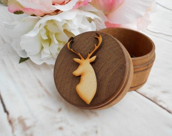 Buck Ring Box Ring Bearer Box Alternative Keepsake Ring Box Rustic Wedding Ring Box Buck and Doe Wedding