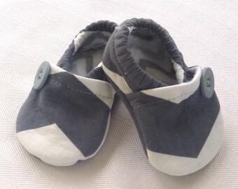 Grey Chevron Crib Shoes