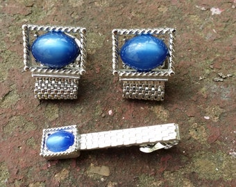 Swank Silver and Blue Moon Glow Cuff Links & Tie Bar Set