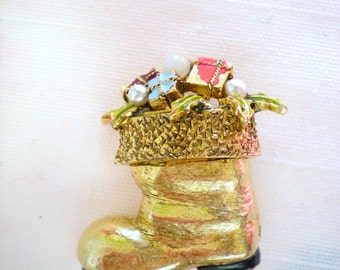 Signed Art Enamel and Pearl Santa's Boot Pin