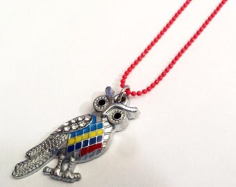 Colorful Owl enamel charm necklace