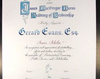 Certificate of Appreciation Honorary Award or Reitrement Resolution. Custom Designed Calligraphy & Art