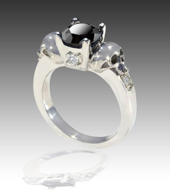 14K White GOLD Black and White Diamond Skull by Johnny10Rings