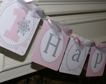 Winter Onederland Happy Birthday Banner, Winter Wonderland Banner, Winter ONEderland Banner (Pink & Grey) by The Party Paper Fairy (WONE-1)