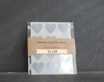 108 Mini Silver Heart Seals / Stickers