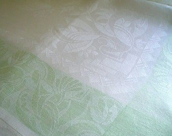 Linen Damask Tablecloth with Pale Green Art Deco Floral Design