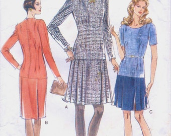 90s Womens Dress Dropped Waist Pleated Skirt Vogue Sewing Pattern 9313 Size 14 16 18 Bust 36 38 40